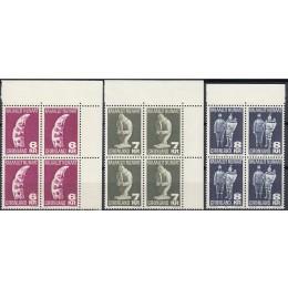 GR 111+117+119 Postfriske højværdier i 4-blokke