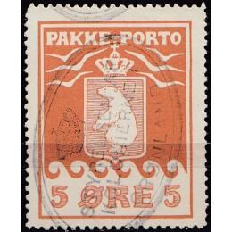 GR PP 02 Stemplet 5 øre Pakkeporto 1905 (m. variant)