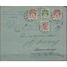 DK 0125 m.fl. på flot brev fra RUDKØBING, via KORSØR til HAMBORG