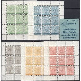 SV - 0412-0416 Postfrisk sæt miniark inkl. billet