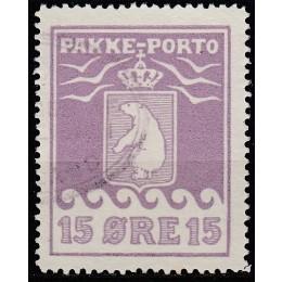 GR PP 08I Stemplet 15 øre pakkeporto kartonpapir - m. ATTEST