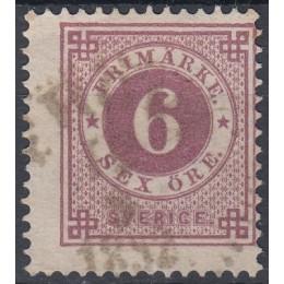 SV - 0033 Stemplet 6 øre rødviolet