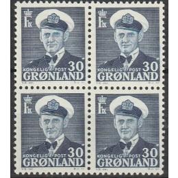 GR 036 Postfrisk 4-blok 30 øre blå