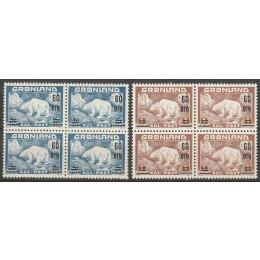GR 037-038 Postfrisk sæt provisorie 4-blokke