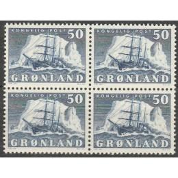 GR 033 Postfrisk 50 øre 4-blok