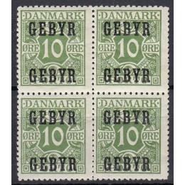 DK GEBYR 1 Postfrisk 4-blok