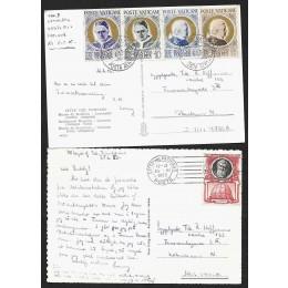 VAT - To postkort fra vatikanet 1953 - 2 scans