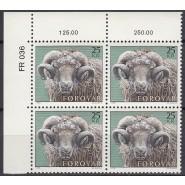 FØ  036 Postfrisk højværdi i Marg. 4-blok